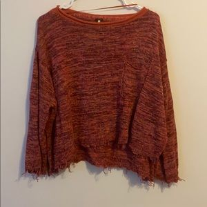 Free People Distressed Crop Boxy Sweater XS